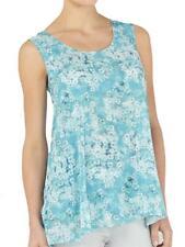 Kaliko light turquoise floral print split tunic top blouse in sizes 8 - 20