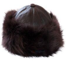 Chapka Russe Femme Cuir Chapeau Fourrure Chapeaux Hiver Bonnet Neige Noir Marron