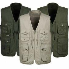 Men Sleeveless Gilet Pockets Vest Waistcoat Cotton Outdoor Fishing Hunting L-4XL