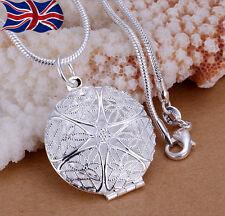 """Plata Esterlina 925 Collar Relicario Foto Colgante 18 """" Serpiente o cadena de Reino Unido"""