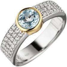 Anello da donna argento 925 bicolore placcato oro 1 topazio blu azzurro blu