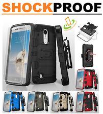 LG Stylo 4 Shock Hybrid Armor Rubber Rugged Case Cover HOLSTER + TEMPERED GLASS
