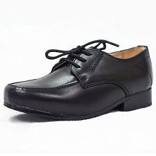 Boys Black Formal Shoes Laces Infant Junior Smart Wedding High Quality Vivaki W