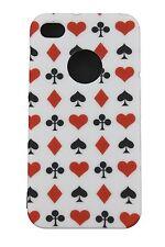 COVER CUSTODIA IPHONE 4 4S SEMI CARTE RIGIDA GOMMATA MATT CASE PLAYNG CARDS