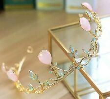 vintage antique style design tiara light pink blush flowers vine leaf queen UK