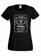 T-shirt Maglietta donna J1309 Jack Sparrow's Tortugan Dark Rum Depp Film Pirati