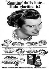 Insaponatrice ottunde i capelli, Vintage Halo Hair Care Pubblicità POSTER RIPRODUZIONE.