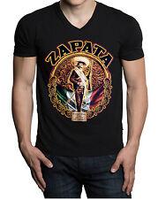 Men's Zapata Mexico Flag V-Neck Black T Shirt Viva Mexican Revolution Pride Tee