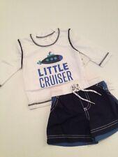 Carters Baby Boy Rash Guard Swimsuit Trunks Set Nautical Blue Size 3 6 9 Months