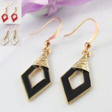 Enamel Diamond Geometric Charm Hook Earrings 40mm Select Black Red or White