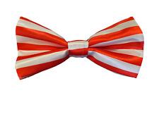 MEN's RED WHITE STRIPE SATIN FANCY DRESS CLOWN HALLOWEEN PRETIED BOW NECKTIE