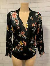 Beautiful Black Floral Plunge V Neck Wrap Top Bodysuit Size 6-18