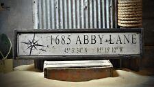 Custom Address Lat & Long Sign - Rustic Hand Made Vintage Wooden ENS1000639