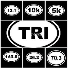 5~140.6 Ironman Triathlon Sticker Car Window Decal Vinyl White Oval Marathon Run