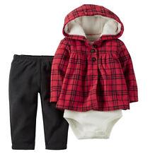 Carter's Baby Girls 3-PC Full-Zip Velboa-Lined Hood Cardigan B'suit Pant Set NWT