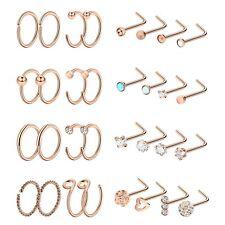 32pcs Stainless Steel Fake Nose Ring Nose Hoop Ring Cartilage Studs Piercing