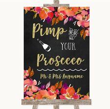 Wedding Sign Poster Print Pink Coral Orange & Purple Pimp Your Prosecco