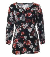 Tunika-Bluse Schwarz Blumenmuster Rot Damen Shirt Langarm Viskose elegant