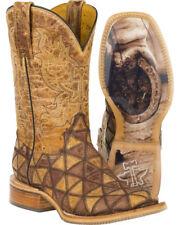 TIN HAUL Women's Tan Conquer the World Cowgirl Square Toe Boots NIB