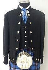 Black Sherrifmuir Kilt Jacket & Vest chrome Buttons NEW LINE