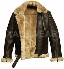 New Aviator Pilot RAF B3 Flying Bomber Fur Shearling Sheepskin Leather Jacket