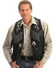 Mens Western Cowboy Traditional Native American Style Fringe Black Vest Jacket