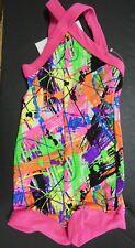 NWT HOTTARD BIKETARD SHORTY UNITARD GIRLS Paint Spatter Acro Dance small Child
