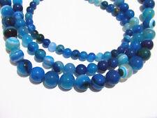 1 filo perline pietre dure forate Agata Blu tondo naturale 6-10mm