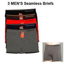 3 Men's Seamless Boxer Briefs Microfiber Underwear Knocker Boxer