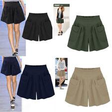 Women Girls Plus Size Loose Hot Pants Pockets Flare Skirt Shorts Pants