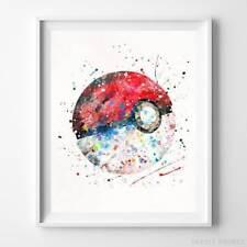 Pokeball Pokemon Wall Decor Watercolor Poster Baby Shower Gift Nursery UNFRAMED