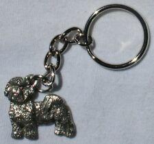 SHIH TZU Puppy Cut Dog Fine Pewter Keychain Key Ring Fob
