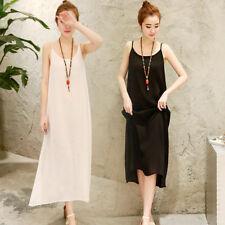 Women Cotton Linen Strappy Full Slip Long Loose Dress Chemise Petticoat M-2XL