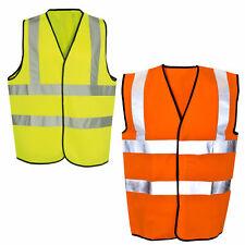 Hi Viz Vest High Vis Safety YELLOW ORANGE  Waistcoat Visibility Jacket