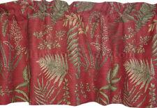 New Fair Oaks SCARLET green FERN LEAF medium weight fabric drapery VALANCE lined