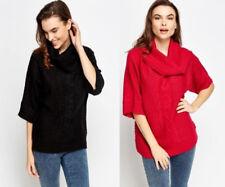 Womens Metallic Cable Knit Cowl Neck Jumper Knitwear  Medium (UK 10-12)