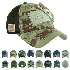 US FLAG Baseball Cap Military Army Hunting Detachable Camo Trucker Mesh Dad Hat