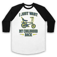 Bicicleta Chopper sólo quiero mi niñez atrás ciclo Retro Unisex 3/4 Béisbol Tee