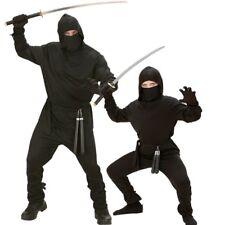 Herren und Kinder Kostüm BLACK DRAGON Ninja Samurai Kämpfer schwarz Jungen
