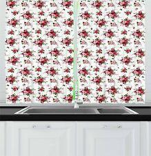 "Floral Kitchen Curtains 2 Panel Set Home Decor Window Drapes 55"" X 39"" Ambesonne"