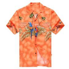 Made in Hawaii Men Hawaiian Aloha Shirt Luau Cruise Party Parrots Palm Orange