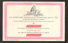 PARIS II° Arrt / Buvard / Cie d'ASSURANCE GENERALES VIE (imprimé à l'envers)