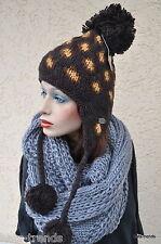 Damen Mütze Moshiki Bommelmütze Beanie Strickmütze Wintermütze warm Wolle Herren