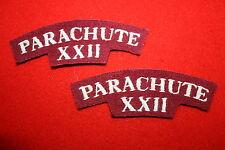 BRITISH PARACHUTE REGIMENT XXII 22ND AIRBORNE CLOTH SHOULDER TITLE PAIR