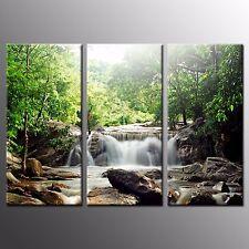 Modern Canvas Print Waterfall Green Tree Wall Art Painting Home Decor-3Pcs