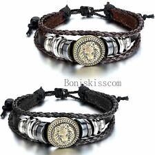 Punk Rock Lion Head Charm Tribal Leather Adjustable Bracelet Handmade Jewelry