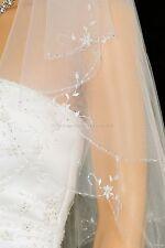 2 Layer Bridal White / Ivory Elbow Floral Scalloped Beaded Edge Wedding Veil