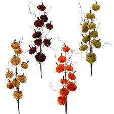 "NEW~RAZ Import~28"" Velvet Pumpkin Spray~Floral Pick/Branch/Stem/Swag/Tree/Wreath"