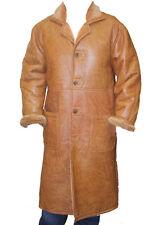 Men's genuine sheepskin shearling long trench WARM coat Jacket buttons closure