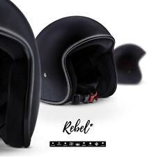 REBEL R2 MATTBLACK Jet-Helm Vespa Roller Motorrad-Helm Chopper XS - XL